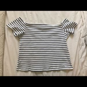 Never Worn Off the Shoulder Striped Crop Top